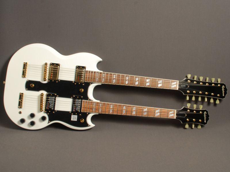 G-1275, da Epiphone, na cora branca, guitarra de dois braços da Epiphone