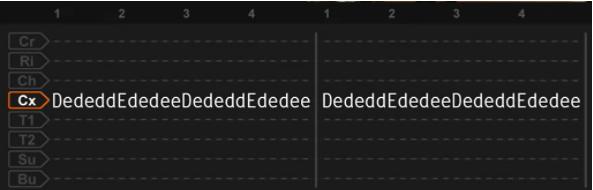 Tablatura do paradiddle duplo, um dos tipos de rudimentos