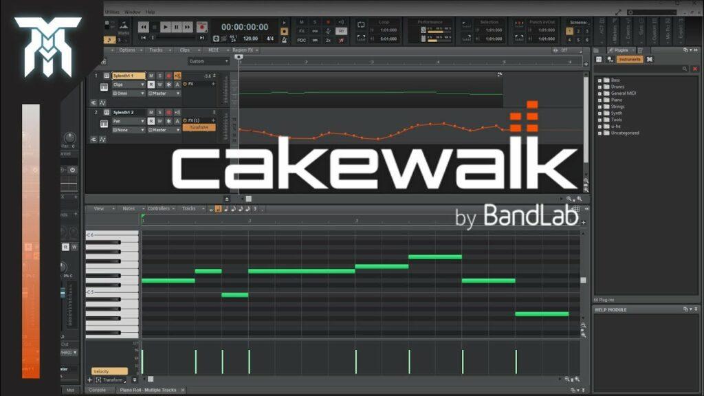 Interface do Cakewalk by BandLab, software de plugins ideal para ter entre os equipamentos de home studio