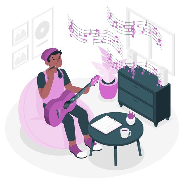 Compositor com violão passando pelos processos de como compor músicas