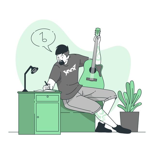 Compositor escreve letra de música com violão na mão