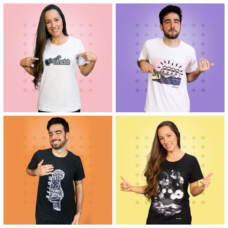 Modelos de camisetas do Cifra Club são ótimas ideias para presente de Dia dos Namorados