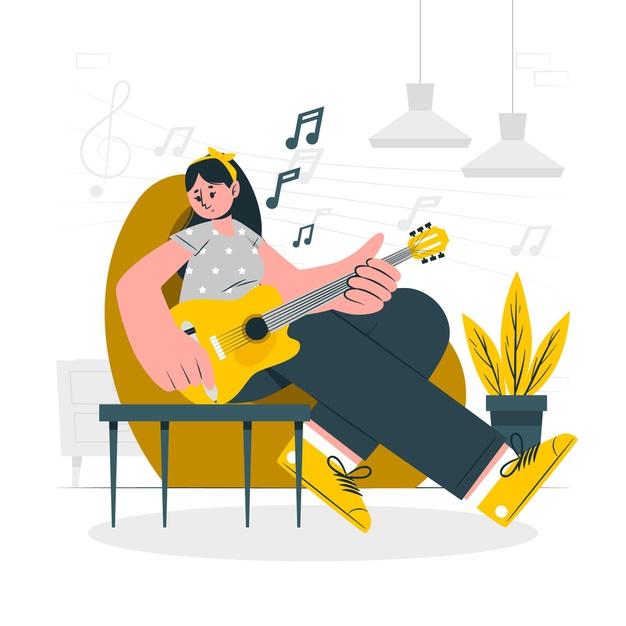 Compositora escreve música sentada no sofá