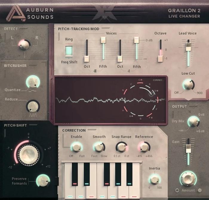 Interface do Graillon 2, ferramenta para afinar a voz e instrumentos