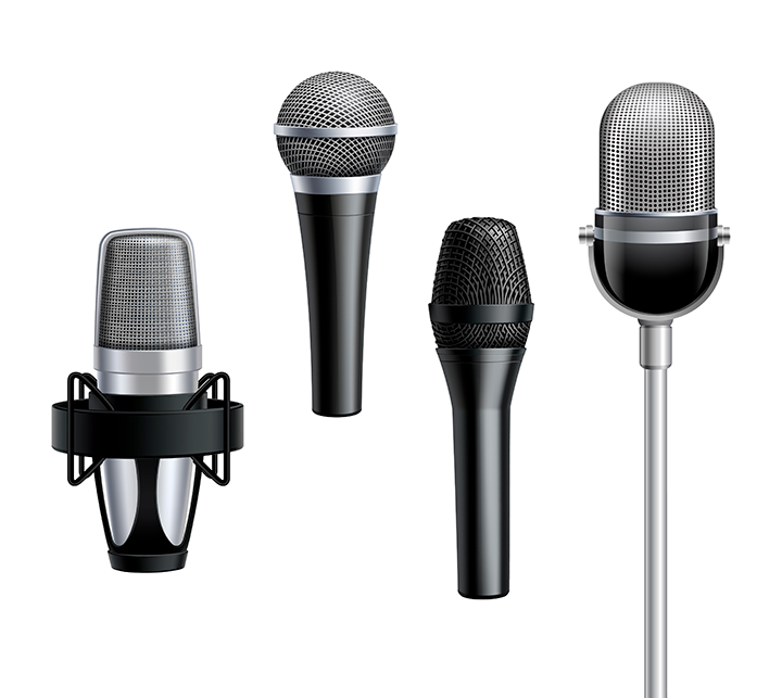 Microfones dinâmicos e condensadores, alguns dos tipos de microfone