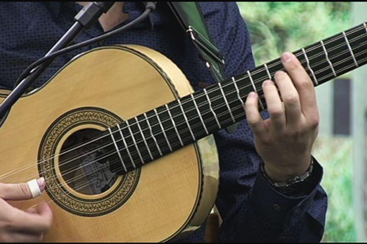 Violeiro toca usando uma das afinações da viola caipira