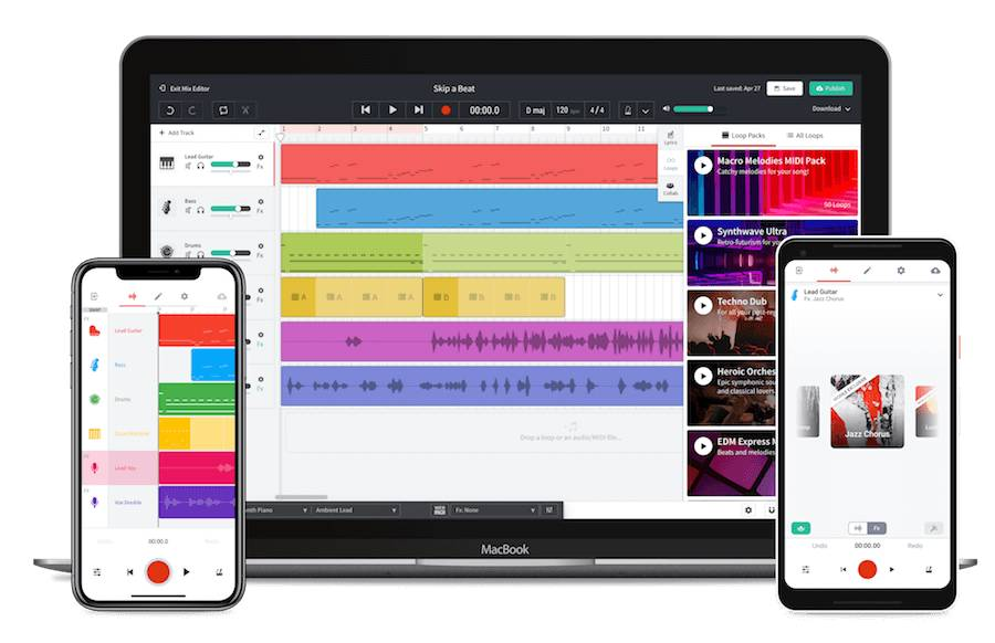 Interfaces do Cakewalk Bandlab, app para produzir música no celular e no tablet