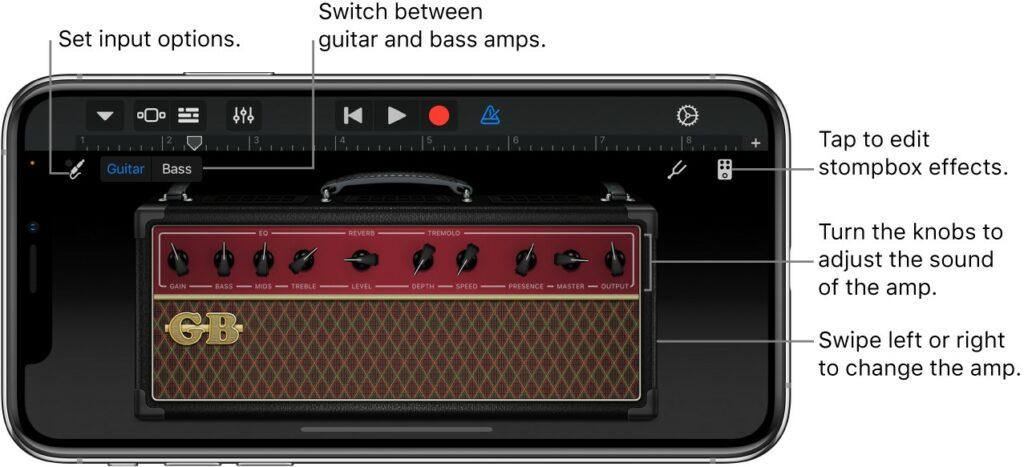 Garageband, software ideal para produzir música no celular, simula amplificador de guitarra