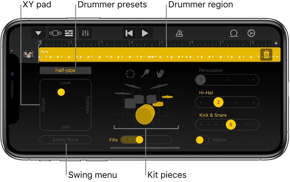 Garageband, software ideal para produzir música no celular, simula bateria