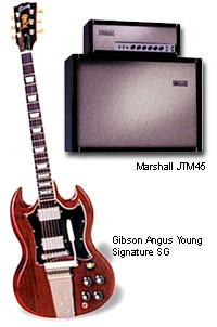 Amplificador Marshall JTM45 e Guitarra Gibson Angus Young Signature SG