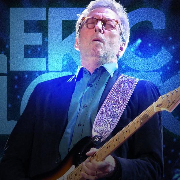 Eric Clapton tocando guitarra ao centro da imagem