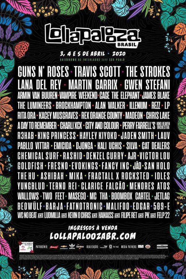 Lollapalooza Brasil 2020 tem Guns N' Roses, Lana Del Rey e vários outros