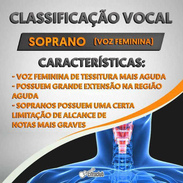 Infográfico explica as características da voz de uma soprano