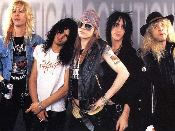Membros da formação clásica do Guns N' Roses, em 1988