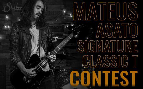 Mateus Asato  com sua guitarra Suhr Mateus Asato Signature Classic T