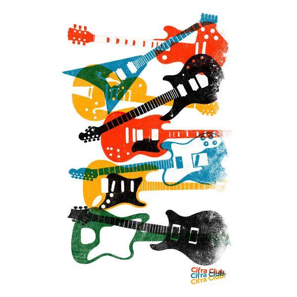 Camiseta Cifra Club, estampa Hard 80s apresenta várias guitarras icônicas