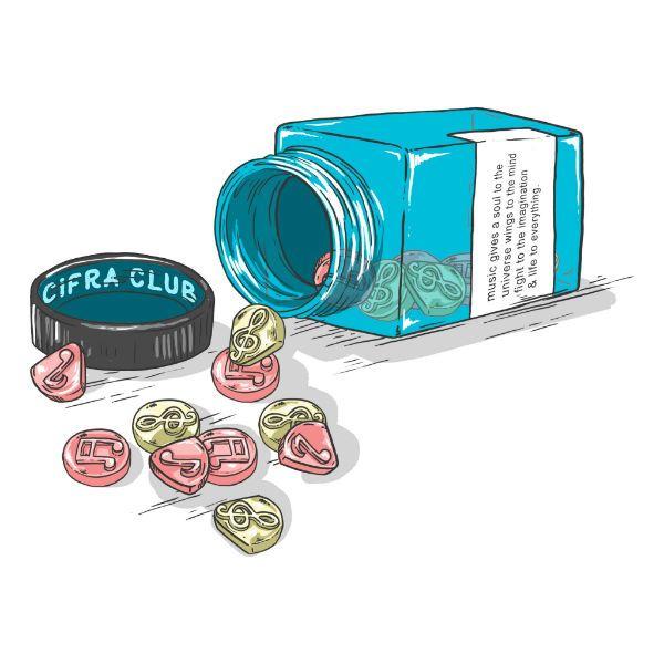 Camiseta Cifra Club, modelo Music Addiction, mostra um vidro de remédios jorrrando palhetas