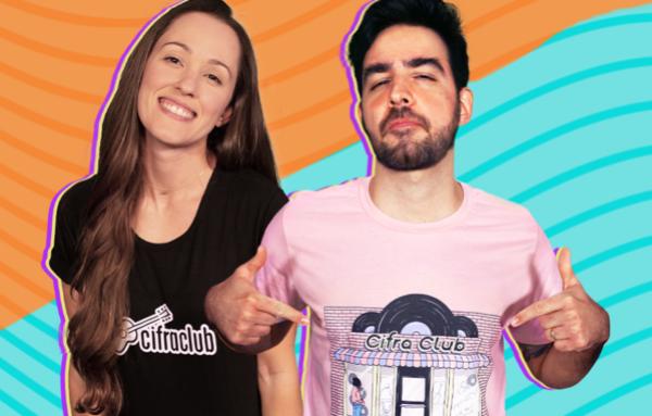 Natalia Sandin e Caico Antunes usam camisetas do Cifra Club