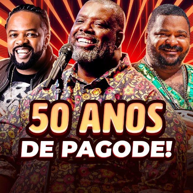 Os cantores Péricles, Xande de Pilares e Arlindo Cruz posam na imagem com o título: 50 anos de pagode