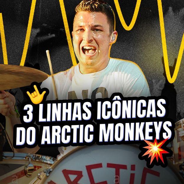O baterista da banda Arctic Monkeys posa na imagem com o título: 3 linhas icônicas do Arctic Monkeys