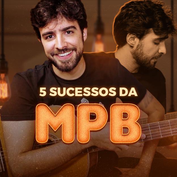 O instrutor Caico Antunes posa no canto esquerdo da imagem com seu violão e o título: 5 Sucessos da MPB