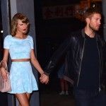 Calvin e Taylor saindo de um jantar romântico, flagrados por paparazzi