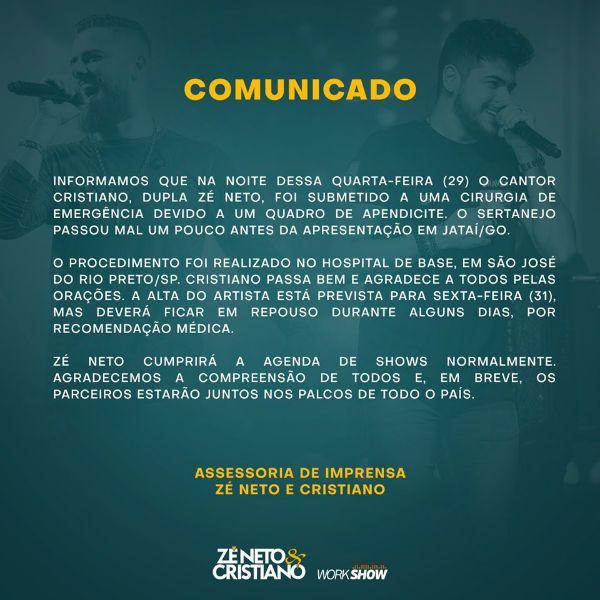 Zé Neto e Cristiano enviaram comunicado à imprensa