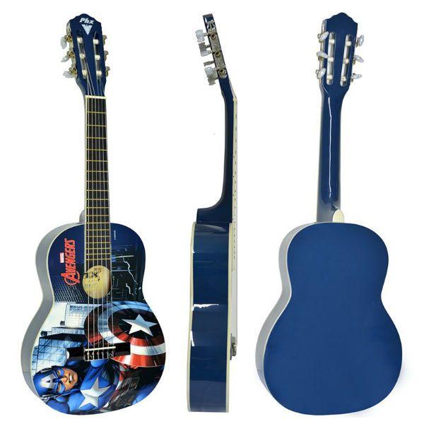 violão do Capitão América visto por várias perspectivas