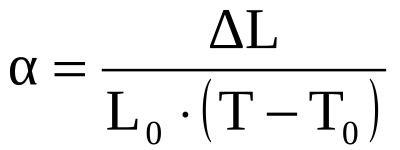 Fórmula para calcular o coeficiente de dilatação térmica