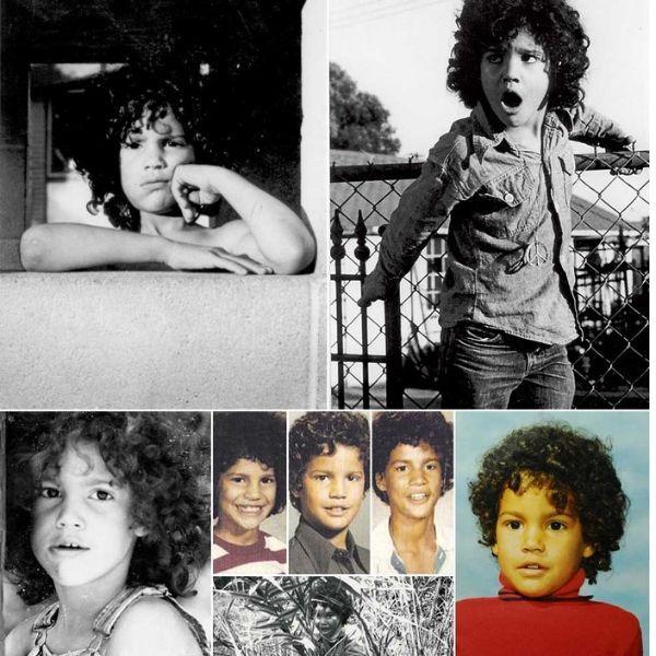 Mosaico de fotos do guitarrista Slash quando era criança