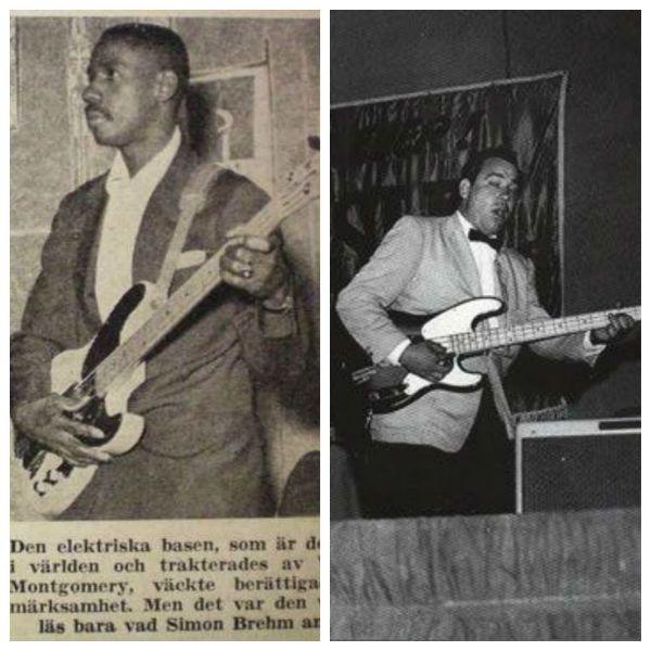 Montagem de fotos com os músicos Monk Montgomery e Bill Black, pioneiros no uso do baixo elétrico