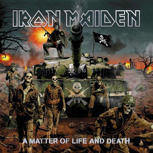 Na capa do disco a matter of life and death, Eddie comando um exército de caveiras