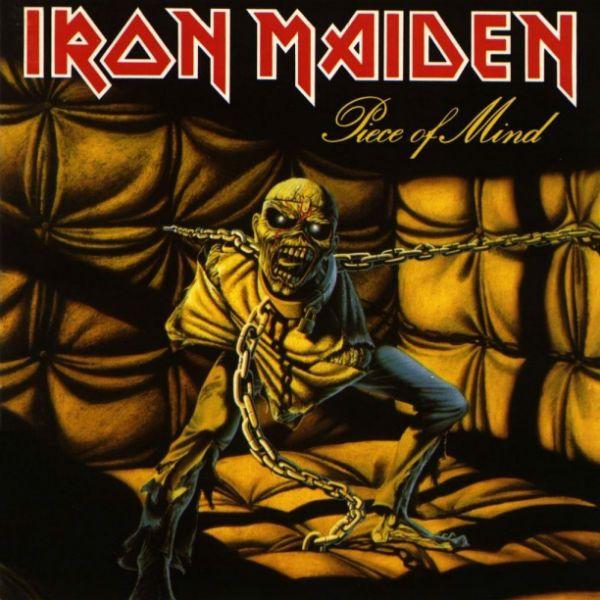 Na capa de piece of mind, o mascote Eddie aparece acorrentado