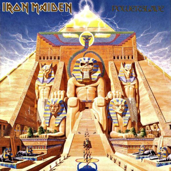 Capa do disco Powerslave, da banda Iron Maiden, apresenta o mascote Eddie nos trajes de um faraó