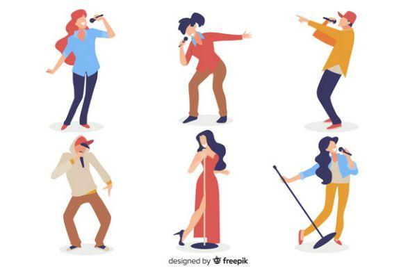 Imagem mostra silhuetas de cantores de vários estilos