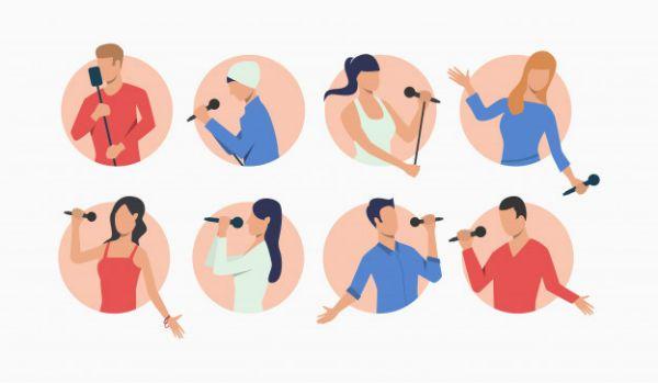 Silhueta mostra estilos variados de cantor e de cantora
