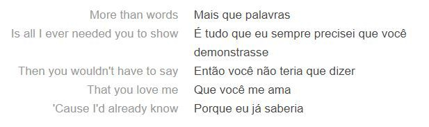 Trecho da letra de More Than Words, hit do Extreme