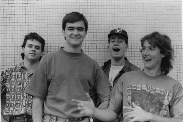 Membros do Skank nos anos 90, quando a banda começou