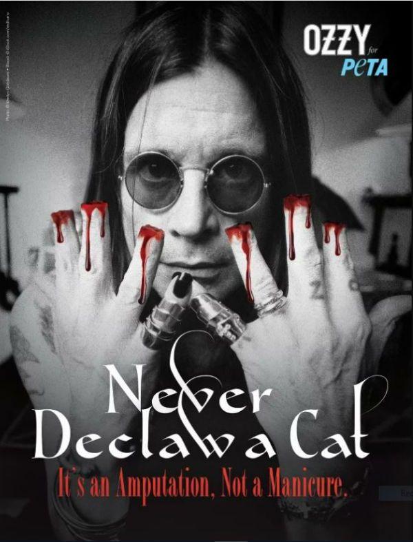 Ozzy Osbourne aparece sem as pontas dos dedos em apoio ao PETA na luta contra multilação de gatos