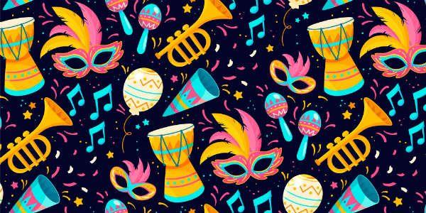 Imagem mostra elementos musicais relacionados ao carnaval