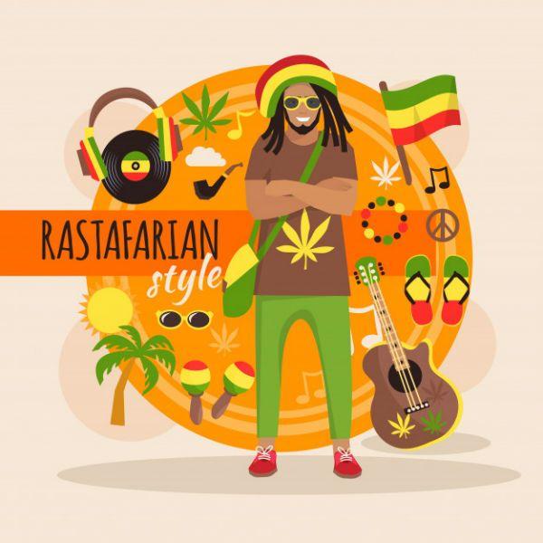Imagem ilustratiuva mostra um homem em meio a elementos do reggae