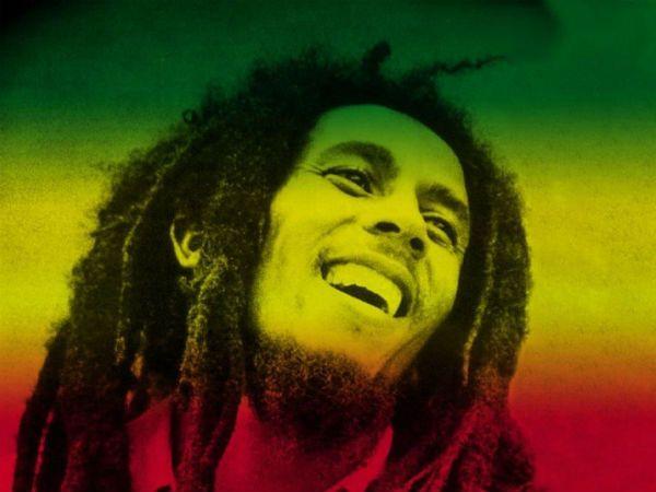 Imagem de Bob Marley estilizada com as cores do reggae