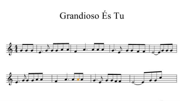 Trecho da partitura de Grandioso És Tu, hino da Harpa Cristã