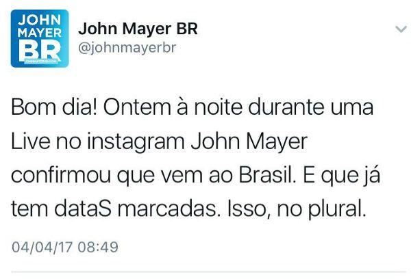 Aimeucorassaum John Mayer Confirma Shows No Brasil