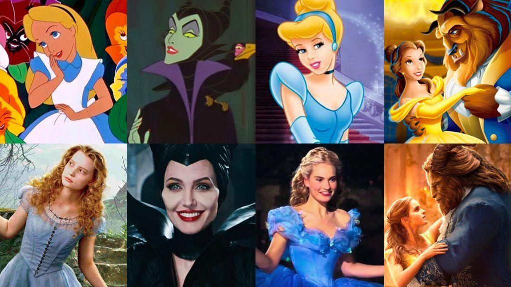 Comparação dos personagens clássicos da Disney com suas novas versões nos remakes.
