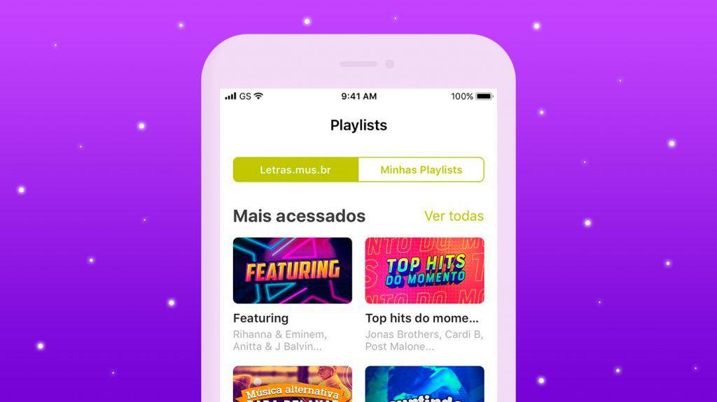 """Opção de """"playlists"""" no aplicativo Letras."""