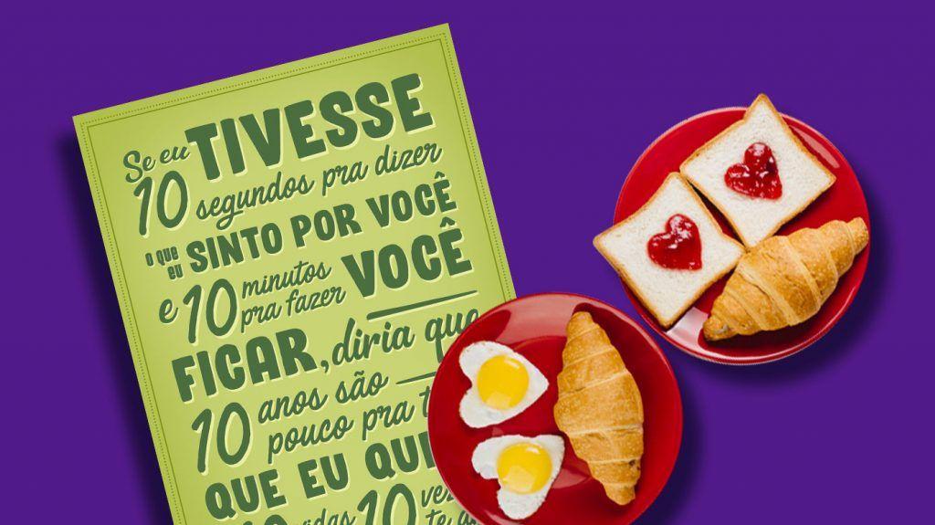 Café da manhã e frase de Dia Dos Namorados