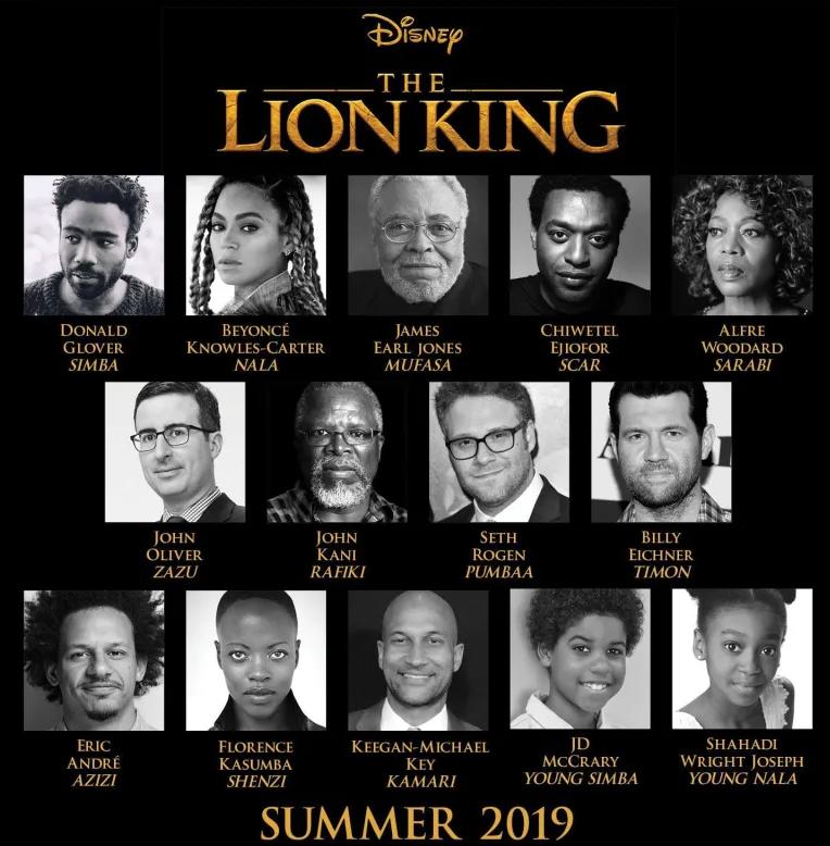 Elenco que interpretará as vozes dos personagens no remake de O Rei Leão