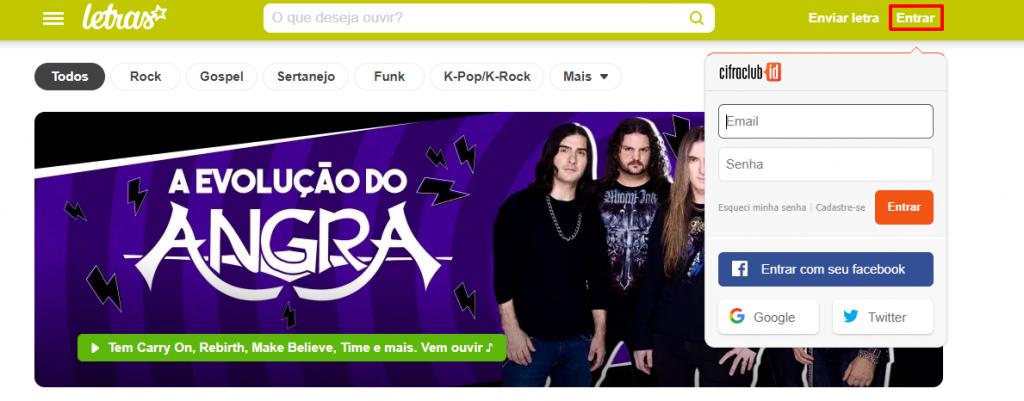 Opção de login no site Letras.mus.br