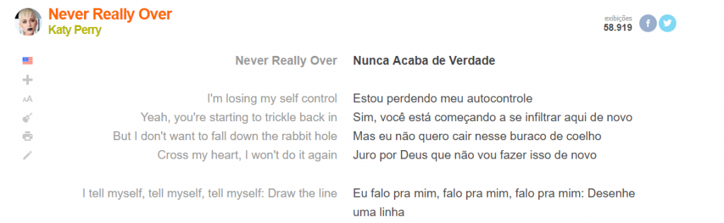 """Letra e tradução literal da música """"Never Really Over"""" no site Letras.mus.br"""